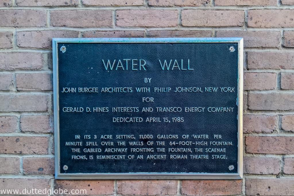 Gerald D. Hines Waterwall Park plaque