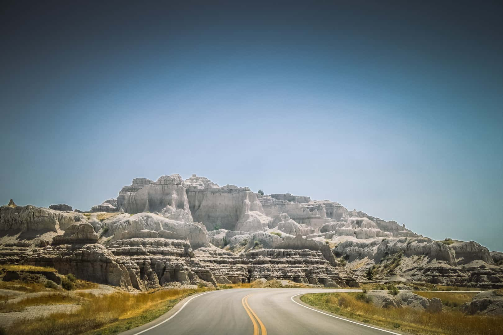 Badlands Loop Road view of the wall formation in Badlands National Park in South Dakota