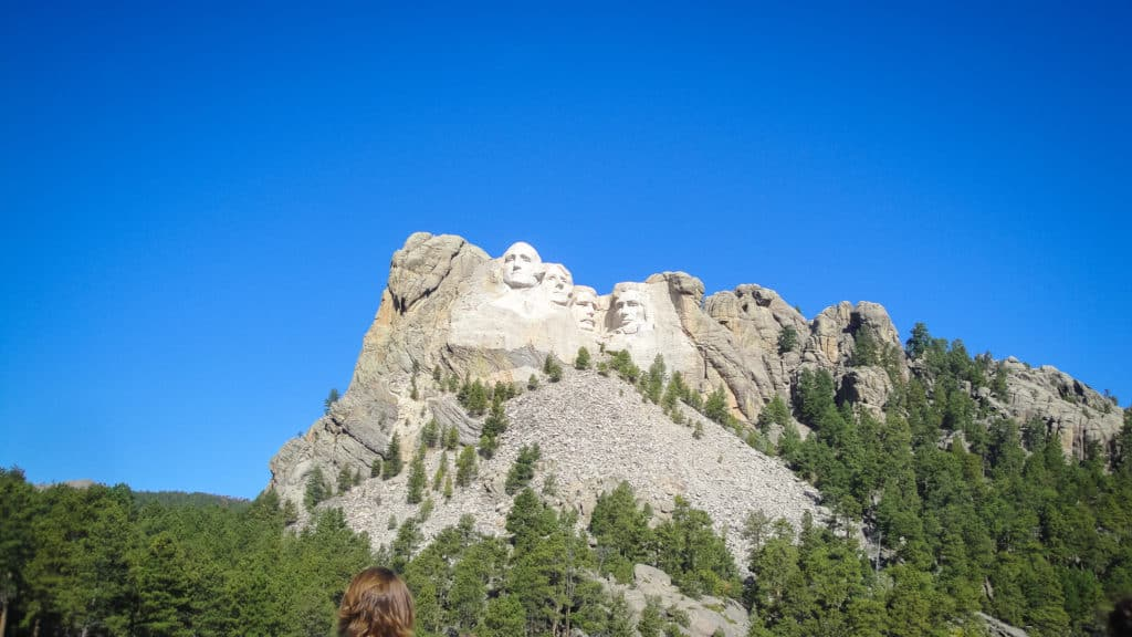 View of Mount Rushmore from the road