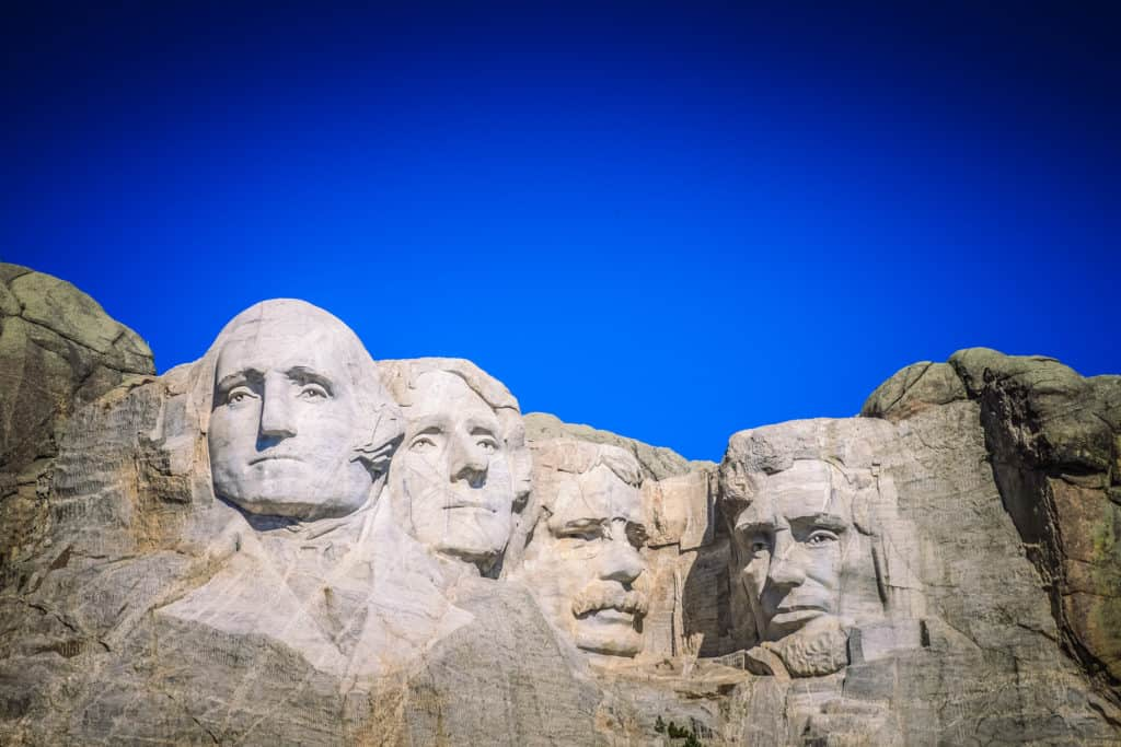 Mount Rushmore National Monument in Black Hills of South Dakota