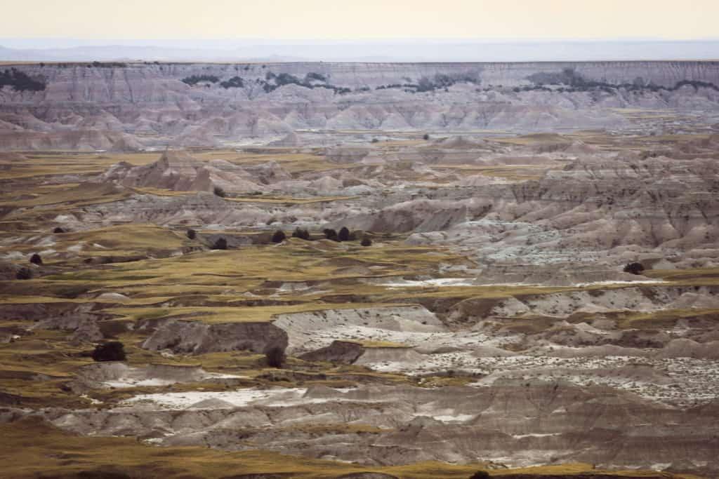 Expansive views of Badlands National park in South Dakota