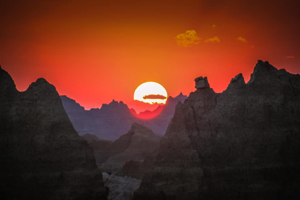 Sunset at Badlands National park in South Dakota