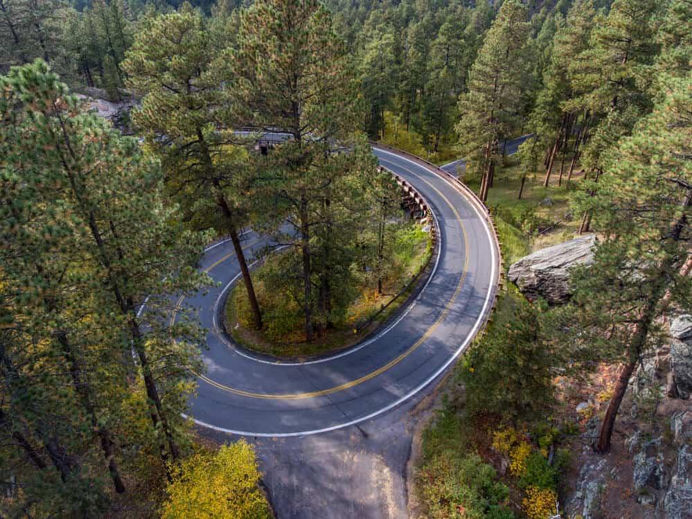 Pigtail curves of Iron Mountain Road, South Dakota