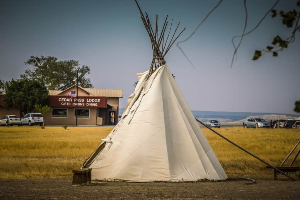 Teepees or tents of the Oglala Lakota and Sioux tribes at Badlands National park