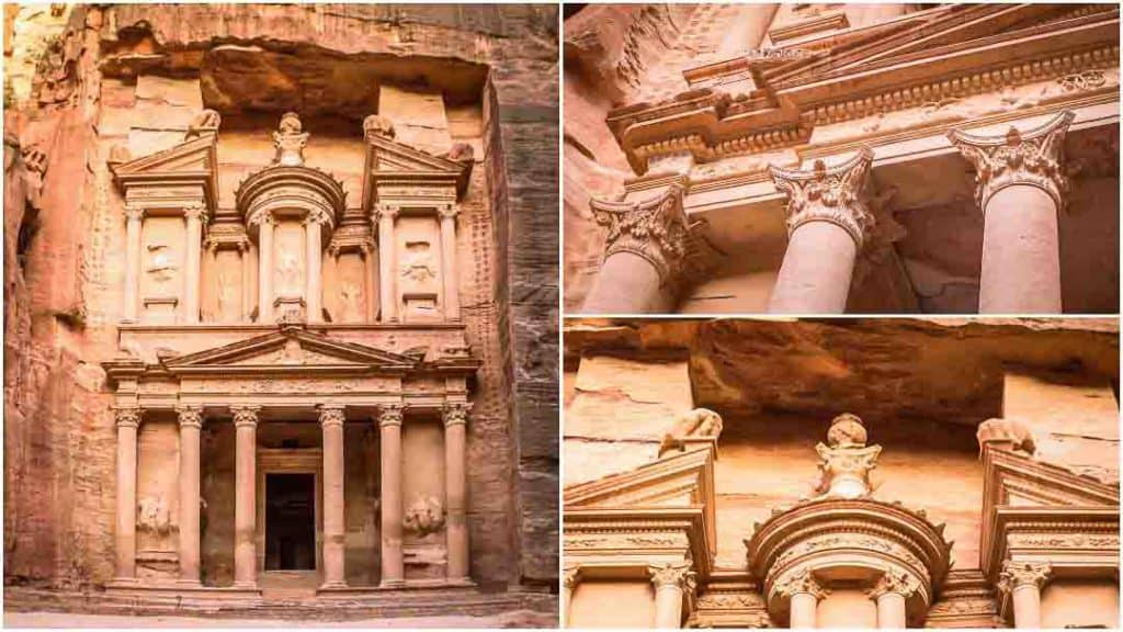 This is a collage of 3 photos taken inside Petra, Jordan by Ketki R S. The left photo is of The Treasury at Petra. The top right photo shows Grecian column details. The bottom right photo shows the urn at the top of the Treasury which is rumored to contain hidden Treasure. This photo is a part of Petra travel guide on the travel website, Dotted Globe.