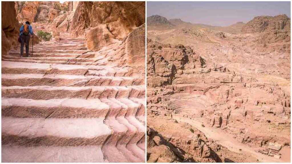 This is a collage of 2 photos taken inside Petra by Ketki R S.  Left: Treasury Overlook Trail (Al-Khubtha Trail) stairs. Right: View of Petra City center from the trail. The photo appears on Petra Travel guide post on the travel blog, Dotted Globe.
