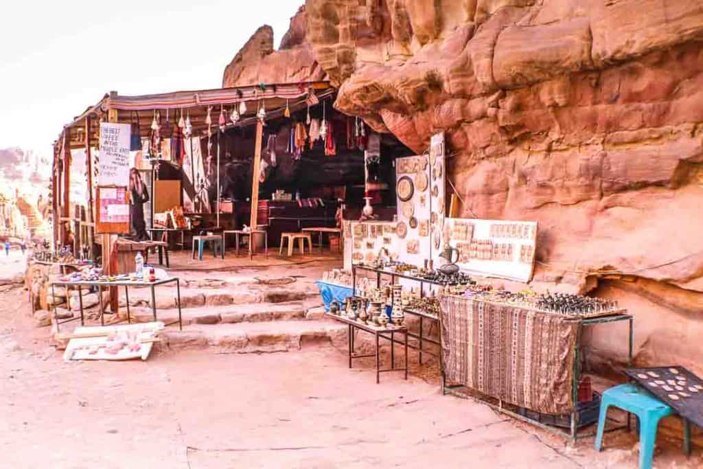 This is a photo of Bedouin cafe / souvenir shop inside Petra offering coffee, snacks, free wi-fi, and shopping! Taken by Ketki R S for Dotted Globe.