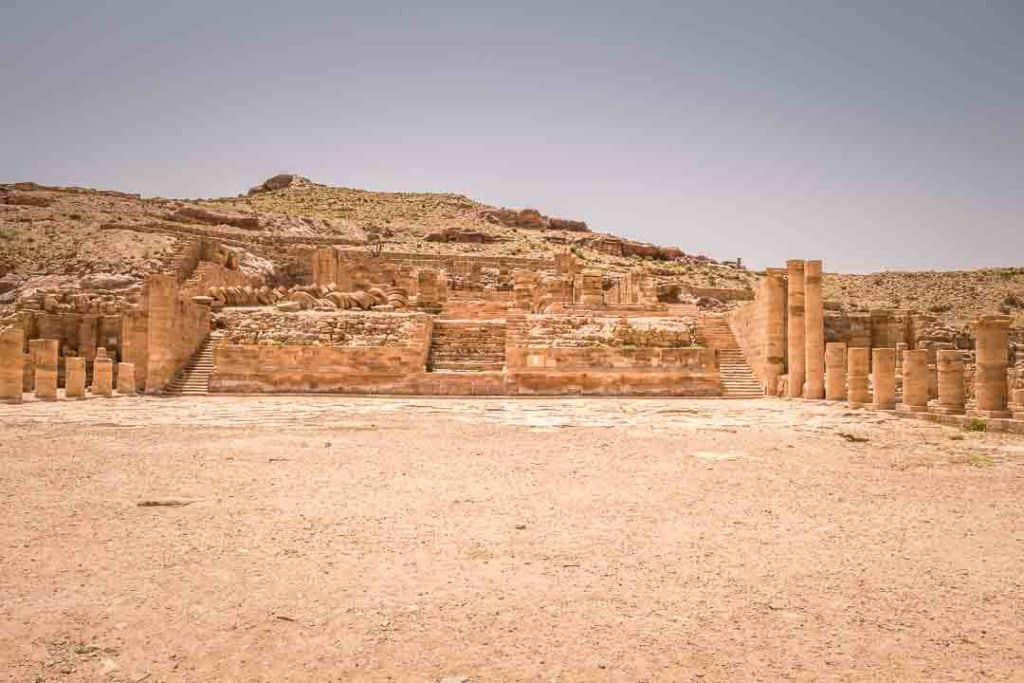 This is a photo of the Petra Great Temple Complex taken by Ketki R S for travel website, Dotted Globe.