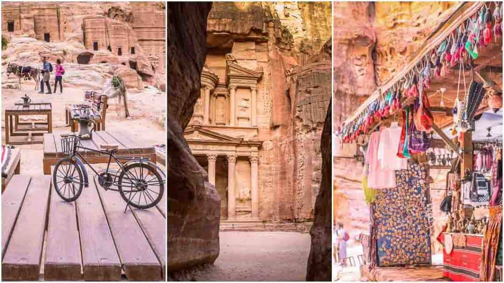 This is a collage of 3 photos taken inside Petra. The one on the left is of the Street of Facades taken from a coffee shop. The center image is of the Treasury, Petra taken from the Siq. The third one is of visitors exploring the Nyphaeum in Petra city center., Jordan. This photo serves as featured image for Petra Itinerary post on the travel website, Dotted Globe.