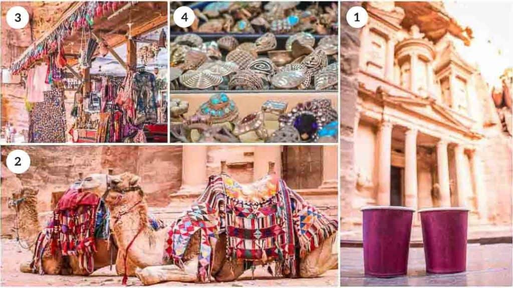 This is a collage of 4 photos taken inside Petra, Jordan by Ketki R S. Clockwise (1) Drinking hot Bedouin tea in front of the Treasury at Petra. (2) The iconic photo of decorated camels in front of the Treasury at Petra. (3) Petra souvenir stand. (4) Bedouin silver jewelry sold inside Petra. The photos are part of Petra Travel Guide on the travel website Dotted Globe.