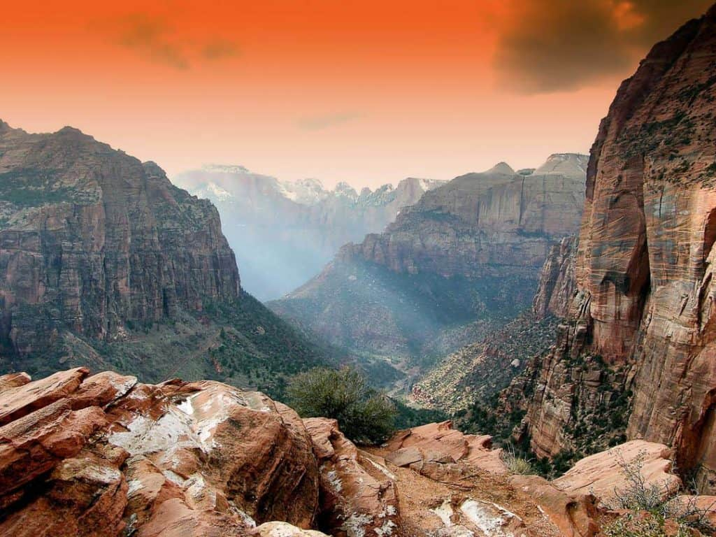 Zion National Park View from top of the Angels Landing trail