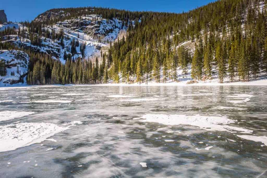 Frozen Bear Lake in Rocky Mountain National Park in Colorado