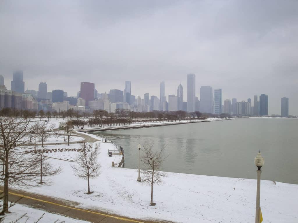 Chicago Skyline in Winter from Soldier Field