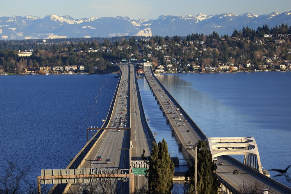 Bridge Seattle Mercer Island Highway Cars Snowy Cascade Mountains Bellevue, Seattle Washington