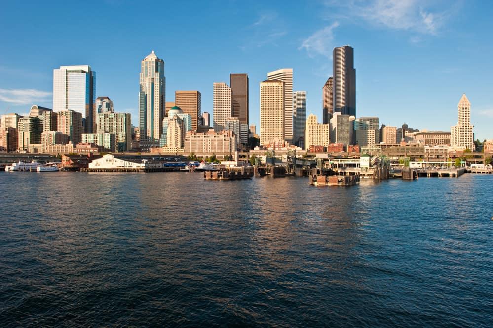 Downtown Seattle as seen from Elliot Bay, Washington