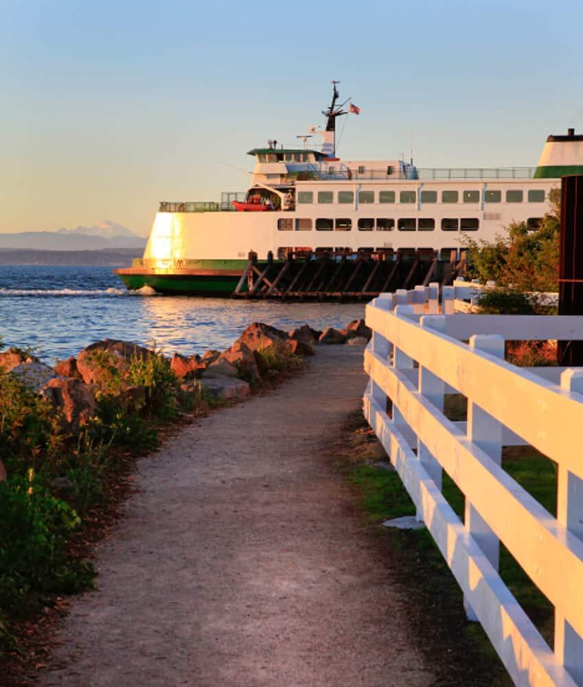 Washington State ferry during sunset, Seattle, Washington