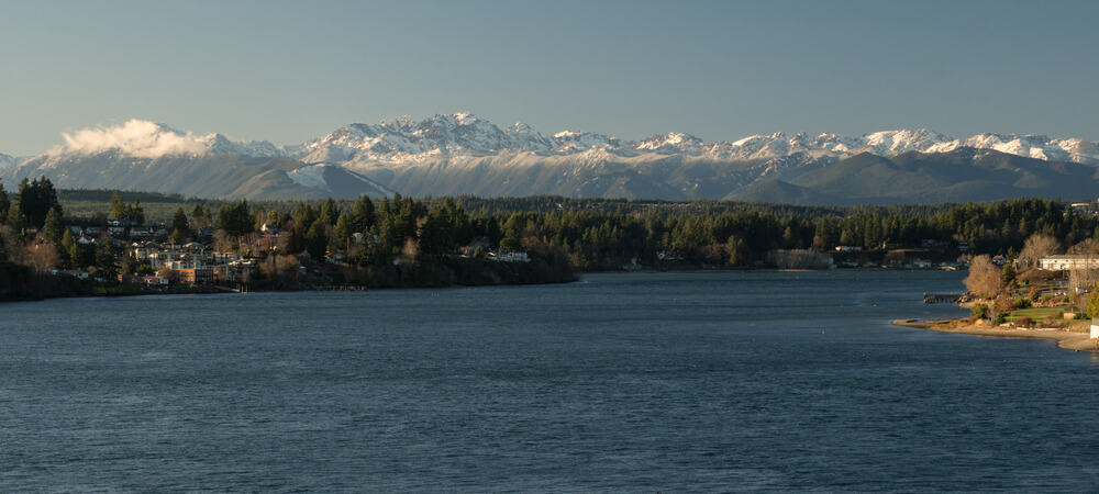 Olympic Mountains as seen From Puget Sound in Bremerton Washington
