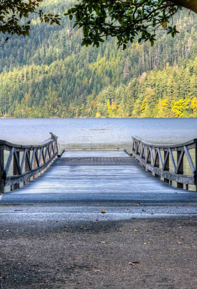 Wooden old pier at Lake Crescent