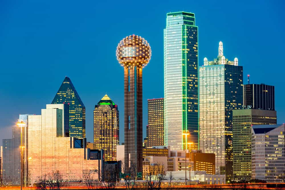 Reunion Tower and Dallas skyline in Texas