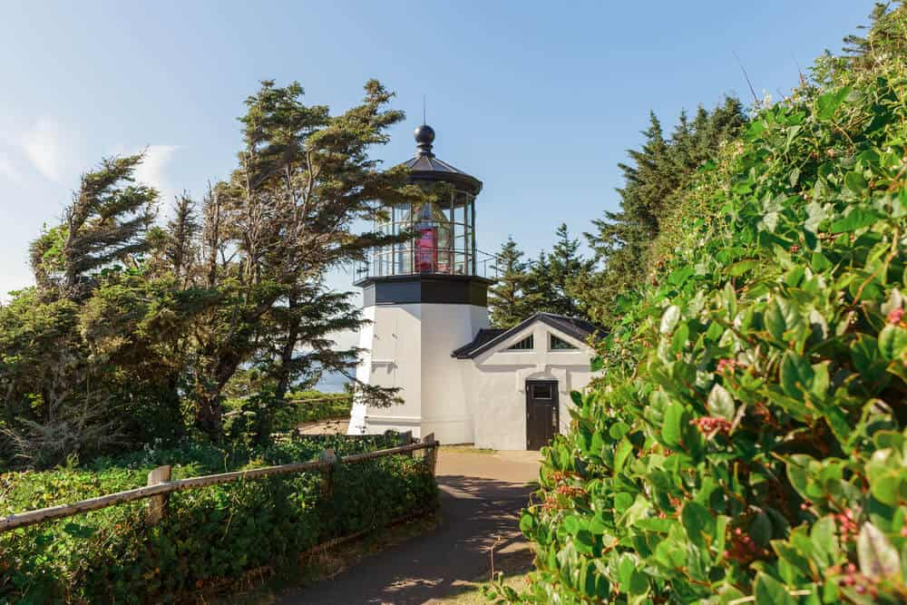 Cape Meares Lighthouse at daytime over the Pacific Ocean, Oregon state, USA