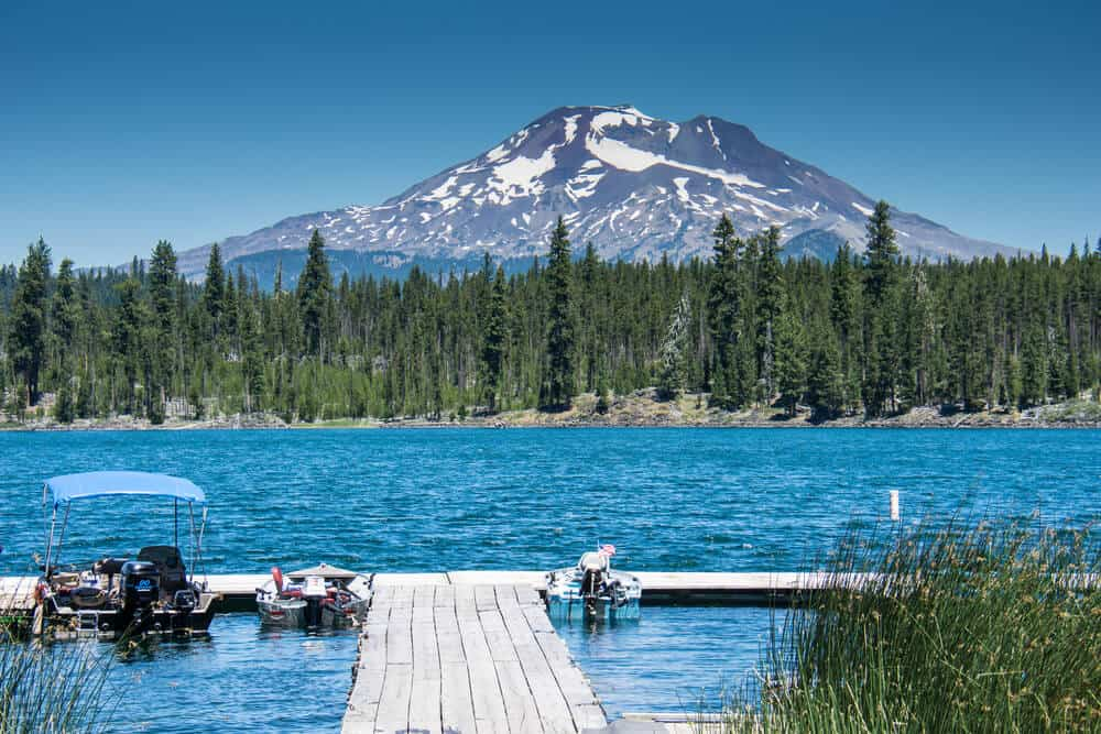 Lava Lake, along the Cascade Lakes Scenic Byway near Bend Oregon, with Mt. Bachelor in the background