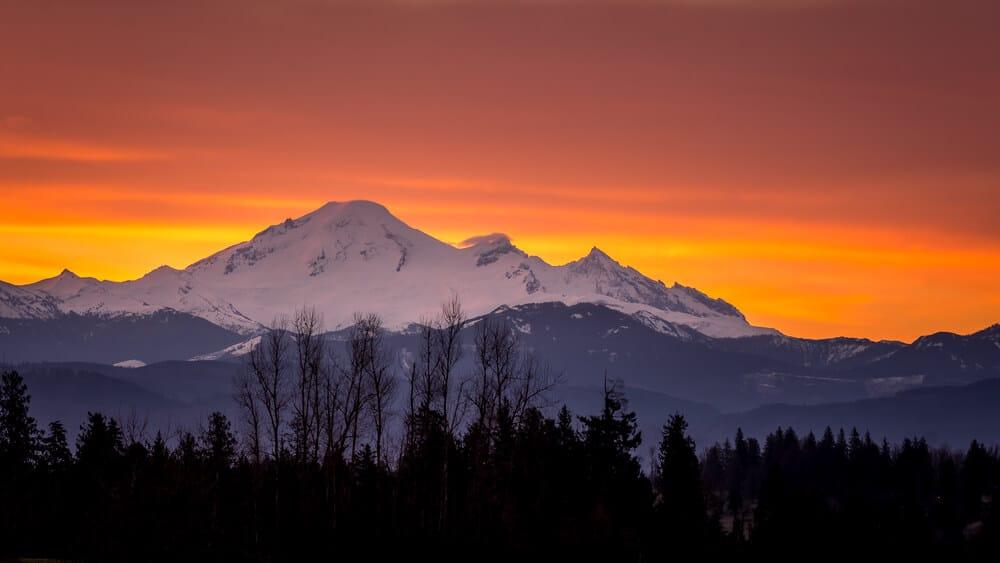 Sunrise Over Mt. Baker as Seen From Bellingham