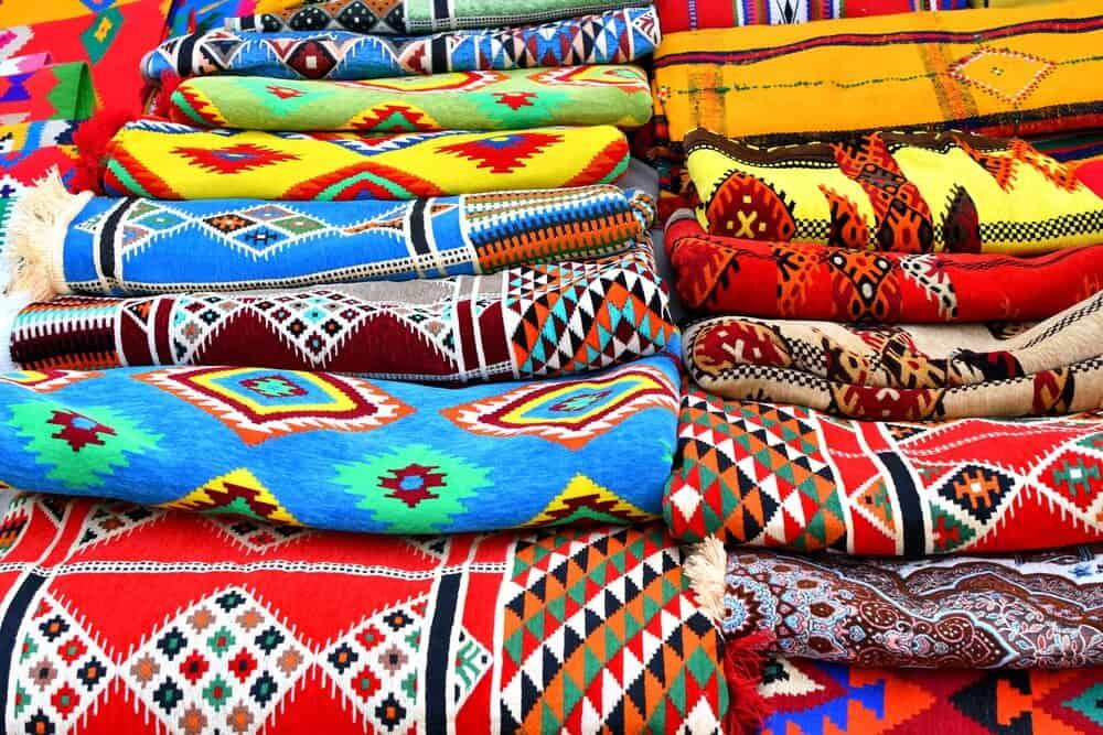 Traditional oriental carpets in Souq Waqif in Doha Qatar