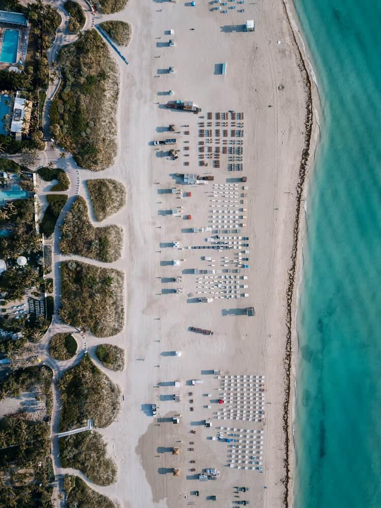 Aerial view of South Beach Miami Florida