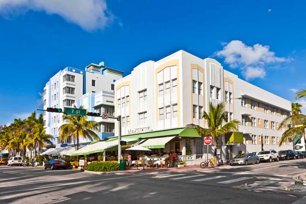 Beautiful houses in Art Deco style on Ocean Drive Miami