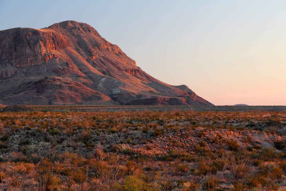 Big Bend National Park View of Chisos Mountains at twilight in Texas