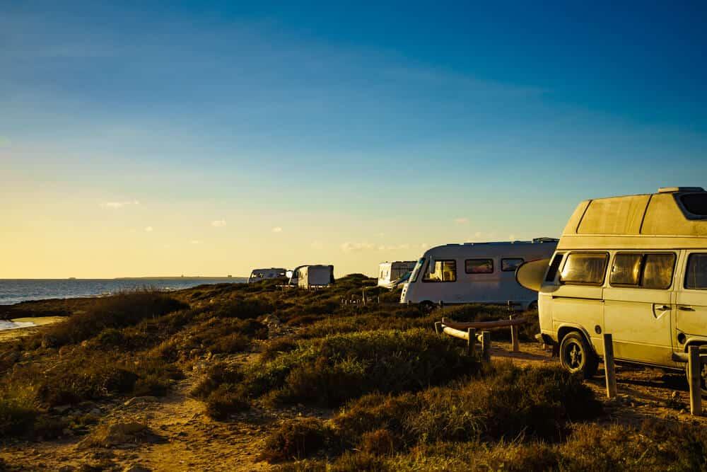 Camper cars on beach