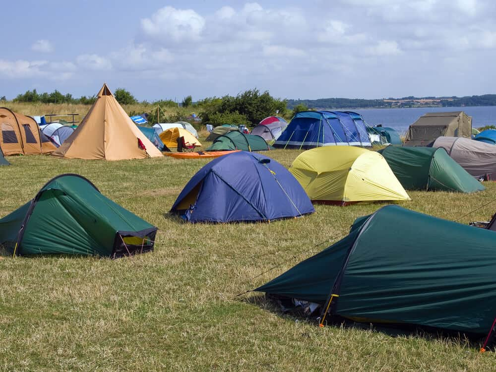 Several camping sites by the water in USA