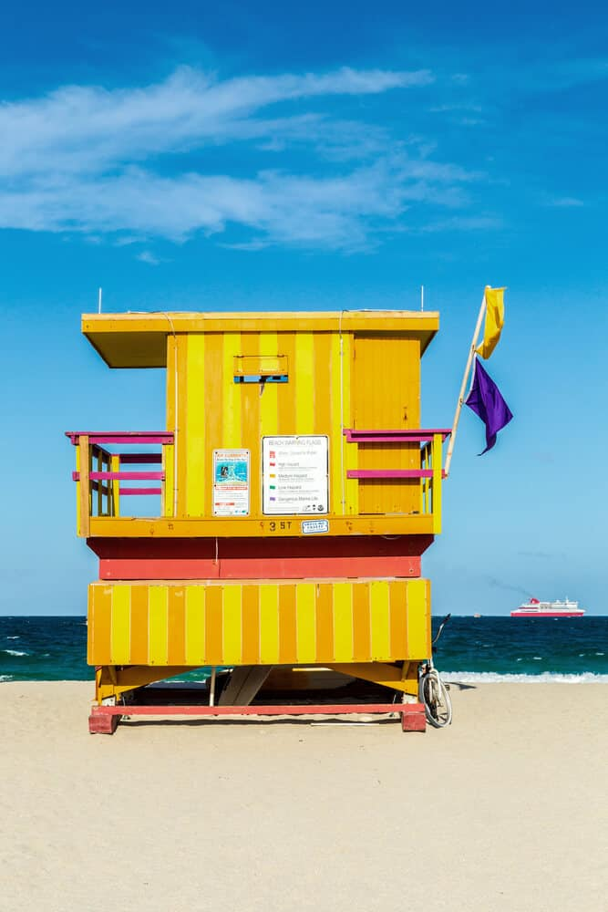 Colorful Wooden Life Guard hut on South Beach Miami