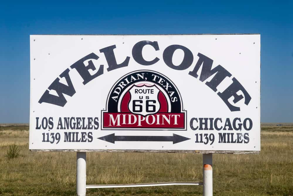 Historic Route 66 Midpoint Sign in Adrian, Texas