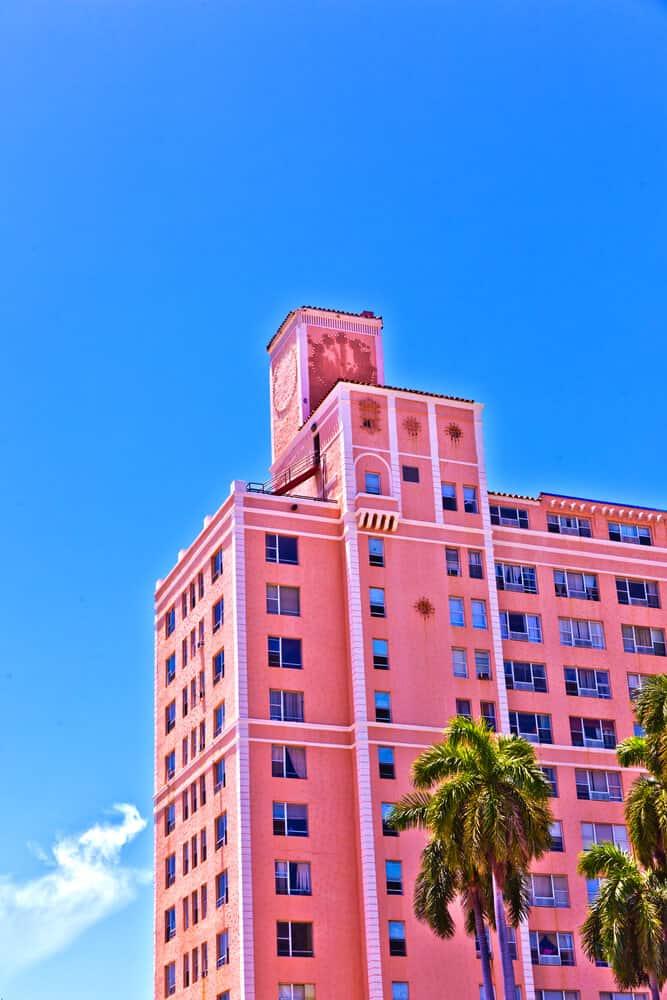 Historic building in Art Deco District of Miami