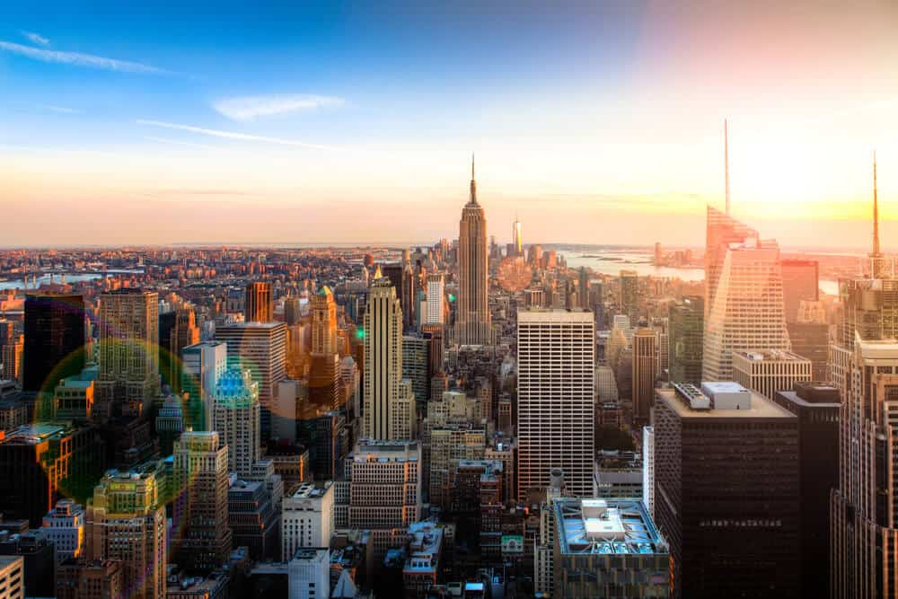 Manhattan skyline from above with Empire State Building New York City