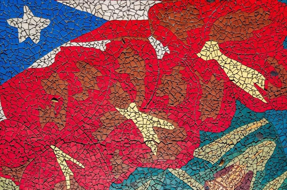 Mural of Cuban flag at Wynwood Walls Miami Florida