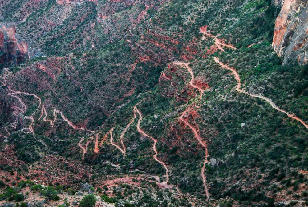Overview of the Bright Angel Trail in Grand Canyon National Park in Arizona