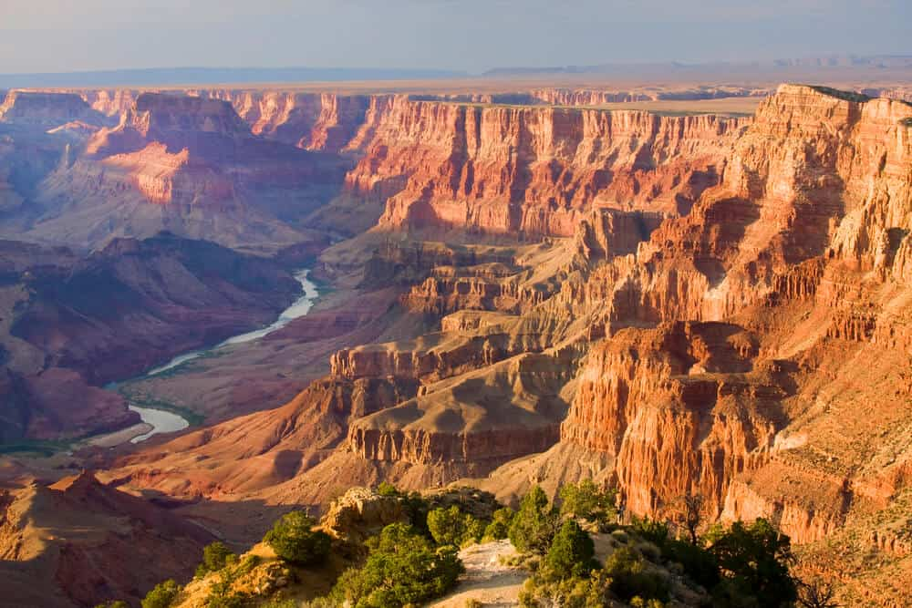 Panoramic view of the Grand Canyon National Park in Arizona at dusk