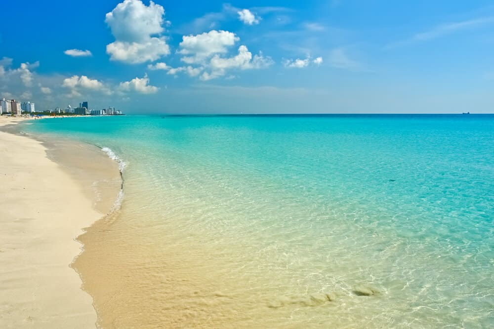Panoramic view of the ocean at South Beach Miami