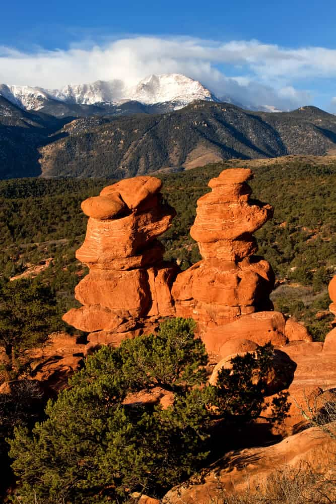 Pikes Peak as seen from Garden of the Gods in Colorado