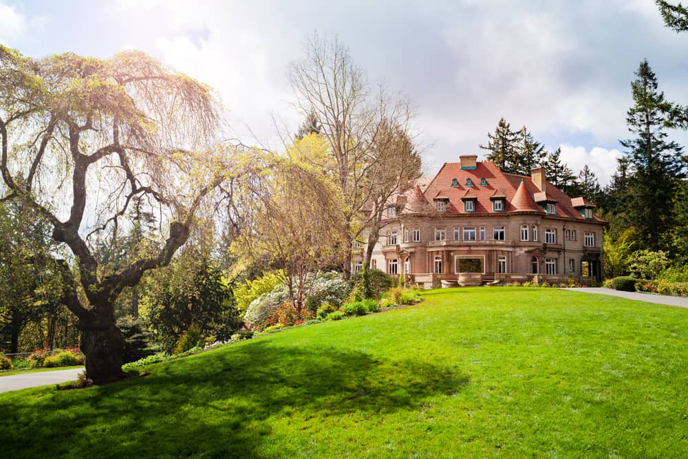 Lawn and building of Pittock Mansion museum, Portland, Oregon