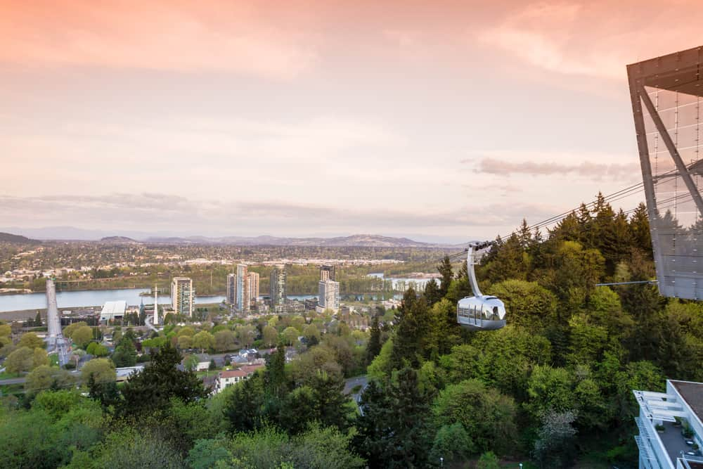 Aerial Tram in Portland Oregon, view of the city from the top