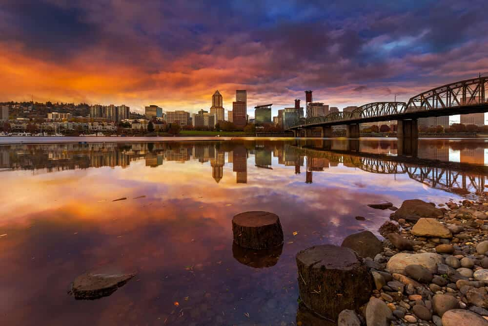 Portland skyline waterfront views