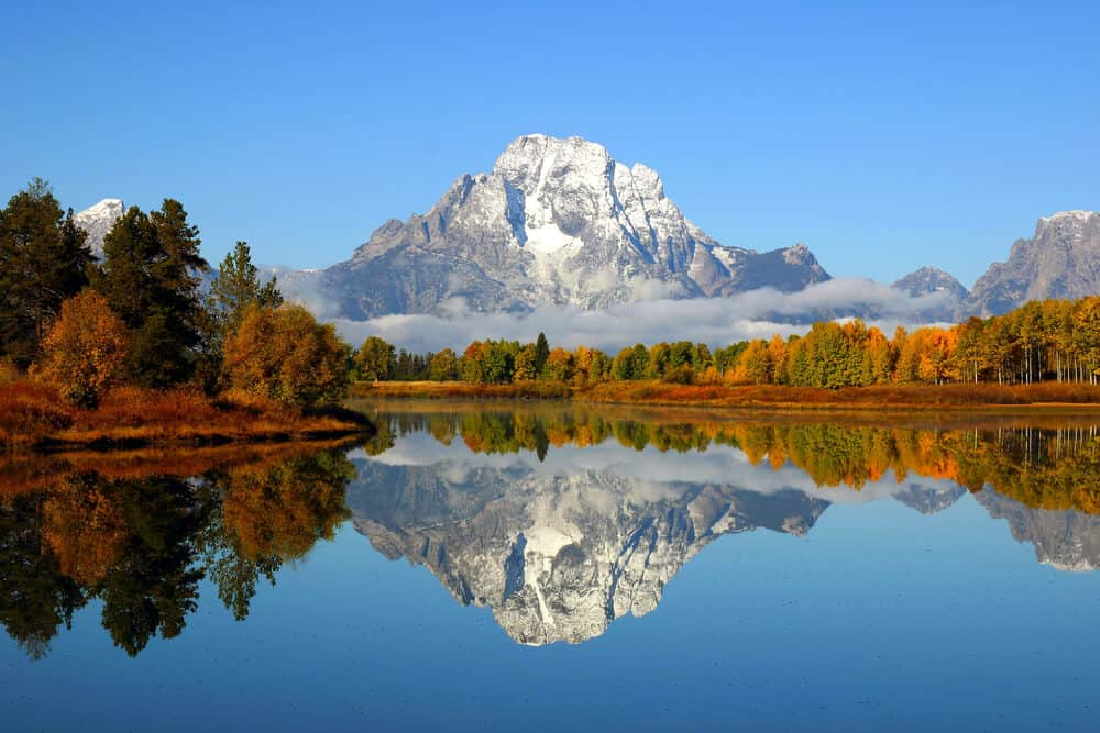 Reflection lake in Grand Tetons National Park in Wyoming