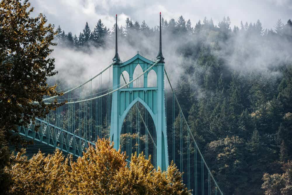 St Johns Bridge Portland Oregon in the fall