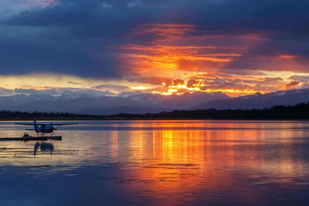 Sunrise at Beluga lake in Homer, Alaska