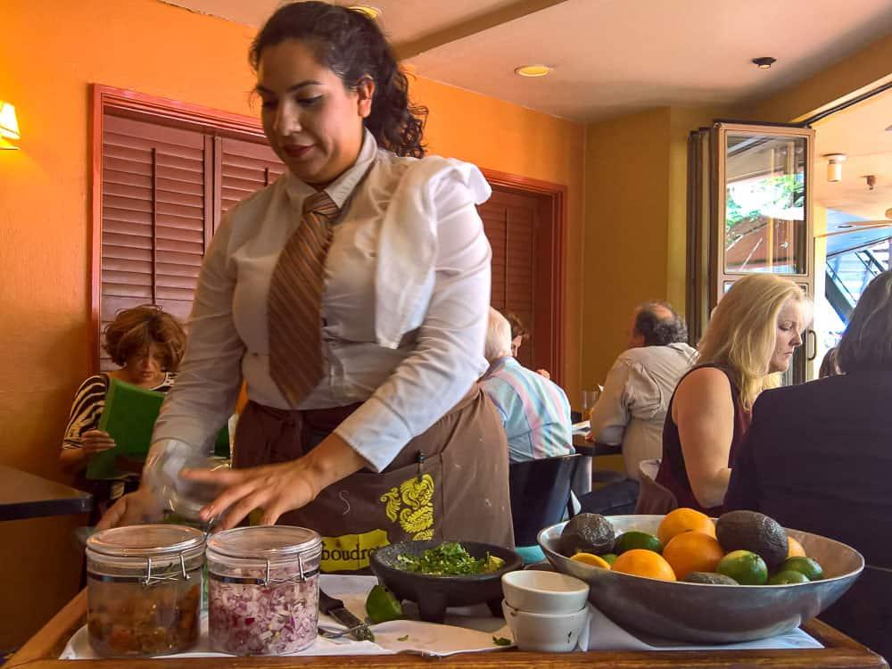 Tableside guacomole at Boudro's, San Antonio Riverwalk