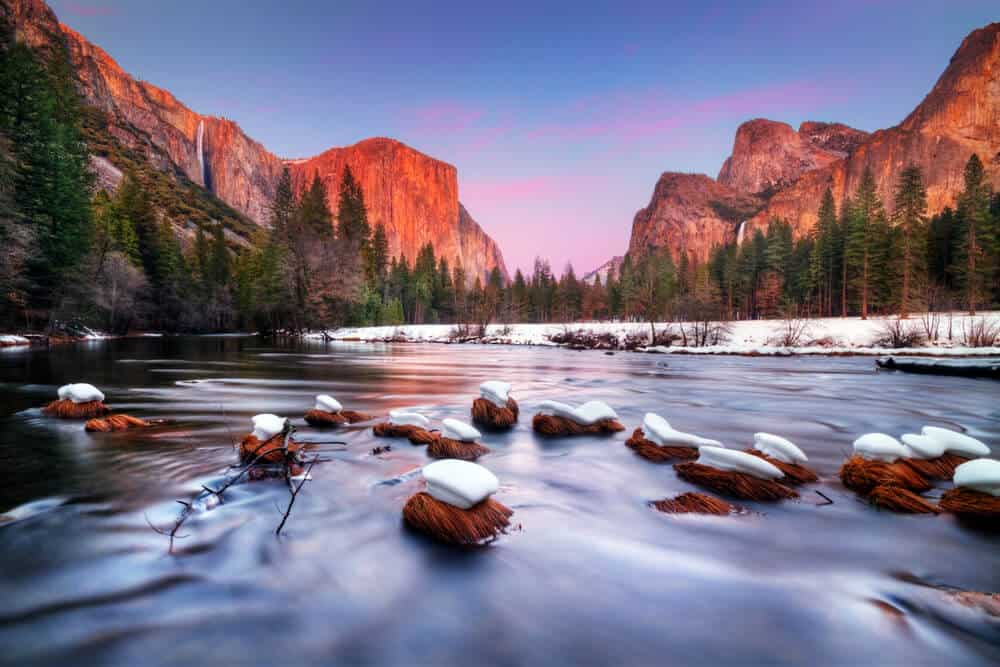 View of the Yosemite Valley at dawn