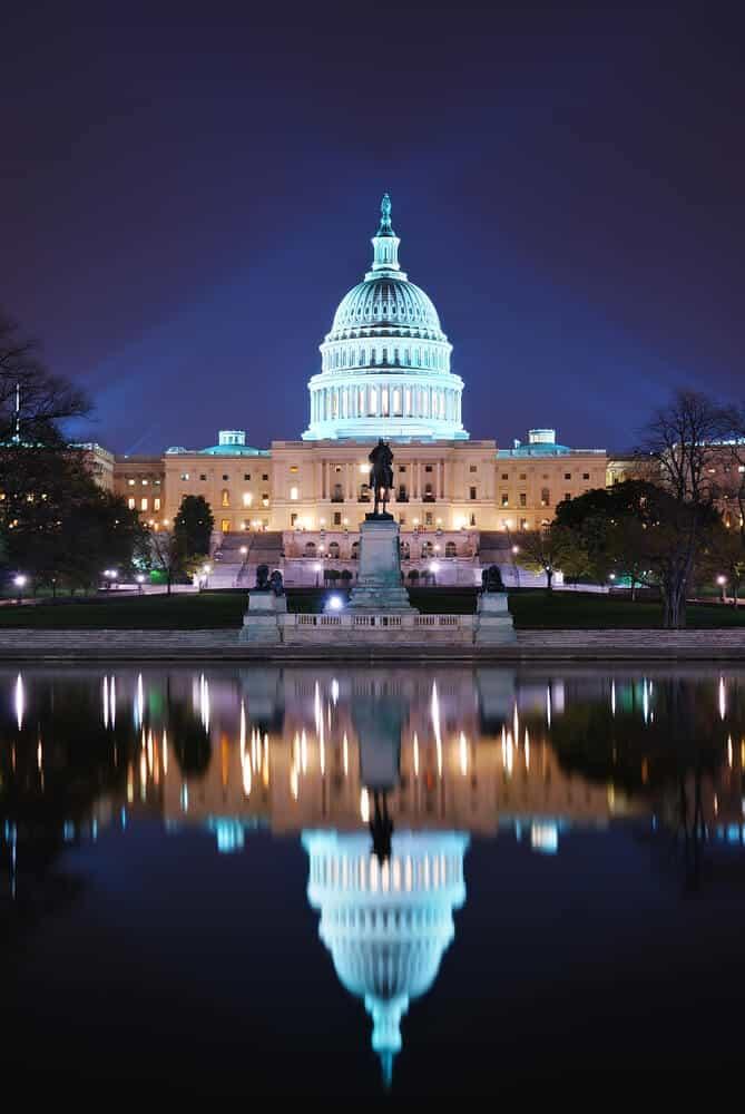 Washington DC US Capitol reflection at night